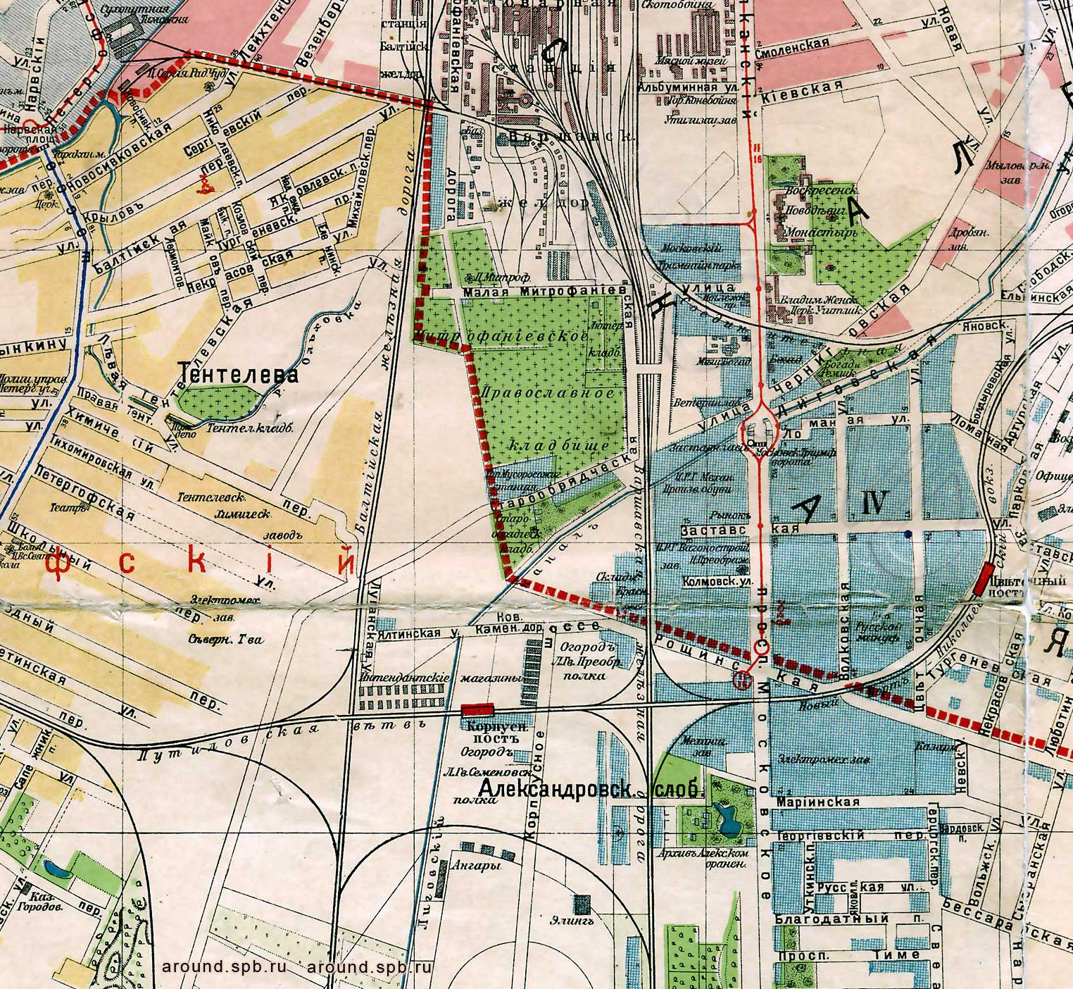 Osa vuoden 1916 kaupunginkartasta, jolla vielä näkyy Mitrofanin hautausmaa
