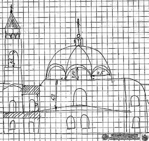 Pyhän Hengen laskeutumisen kirkko, piirros ennen purkamista tehdyistä mittauspiirustuksista