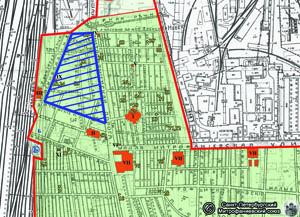 To samo, miejscowości wzdłuż szosy Mitrofanjewskiej (2005) z nałożoną mapą cmentarza (1915). Granice cmentarza zaznaczone czerwonym, część choleryczna - niebieskim.