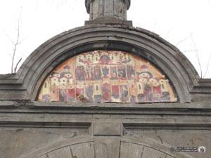 Изображение иконы на воротах Громовского старообрядческого кладбища. Фото Н. В. Лаврентьева, ноябрь 2015 года.